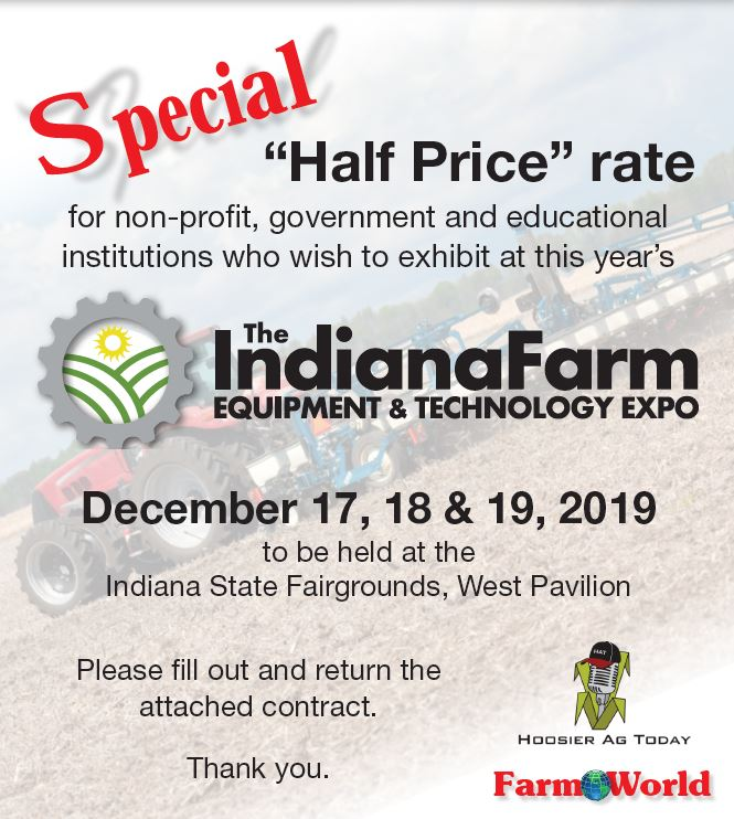 half price rate for no-profit government and education institutions who wish to exhibit at this year's farm show